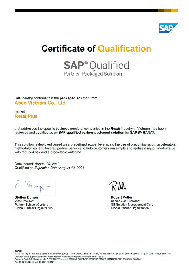 Abeo với gói giải pháp RetailPlus được SAP chứng nhận là giải pháp tích hợp SAP S/4HANA đầu tiên tại Việt Nam được thiết kế cho ngành bán lẻ.